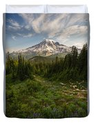 Rainier And Majestic Meadows Of Wildflowers Duvet Cover