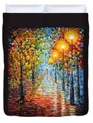 Rainy Autumn Evening In The Park Acrylic Palette Knife Painting Duvet Cover