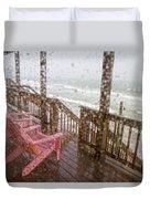 Rainy Beach Evening Duvet Cover