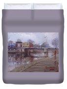 Rainy Day At Tonawanda Canal Duvet Cover