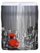 Rainy Day City Girl In Red Duvet Cover
