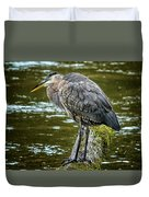 Rainy Day Heron Duvet Cover by Belinda Greb