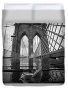 Rainy Day On The Brooklyn Bridge Brooklyn New York Tulip Petals Black And White Duvet Cover