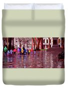 Rainy Day Rainbow - Children At Independence Square Duvet Cover
