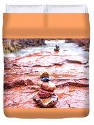 Rainy Day Stone Cairns In Sedona Duvet Cover