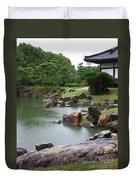 Rainy Japanese Garden Pond Duvet Cover