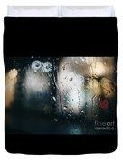 Rainy Window City Lights Duvet Cover