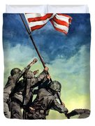 Raising The Flag On Iwo Jima Duvet Cover