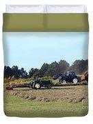 Raking And Baling Hay In Texas Duvet Cover