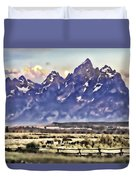 Ranch In Style Of A Watercolor Duvet Cover