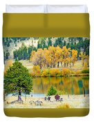 Ranch Pond In Autumn Duvet Cover