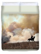 Rancher Starting A Controlled Burn Duvet Cover