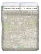 Rancho Cucamonga California Us City Street Map Duvet Cover