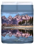 Grand Teton Snow Capped Reflections Duvet Cover