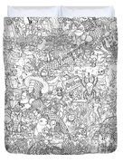 Random And Pop-culture Themed Coloring Poster Duvet Cover