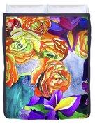 Ranunculus And Iris Duvet Cover