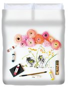 Ranunculus With First Watercolor Duvet Cover