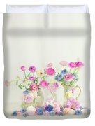 Ranunculus With Love In A Mist Duvet Cover