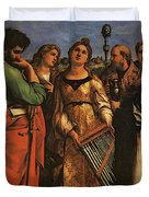 Raphael St Cecilia With Sts Paul John Evangelists Augustine And Mary Magdalene Duvet Cover