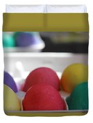 Raspberry And Hawaiian Surf Colored Easter Eggs Duvet Cover