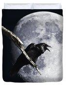 Raven Barking At The Moon Duvet Cover