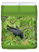 Raven In The Cherry Tree Duvet Cover
