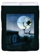 Raven Landing On Branch In Moonlight Duvet Cover