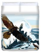 Ravens And The Stormy Sea Duvet Cover