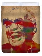 Ray Charles Watercolor Portrait On Worn Distressed Canvas Duvet Cover