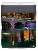 Razzle Dazzle - Colorful Neon Lights Up Canals And Gondolas At The Venetian Las Vegas Duvet Cover