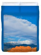 Reaching The Clouds Above Fourteen Thousand Feet  Duvet Cover