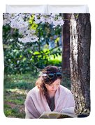Reading Beneath The Cherry Blossoms Duvet Cover