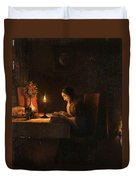 Reading By Candlelight Duvet Cover