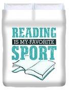 Reading Is My Favorite Sport Light Blue Duvet Cover