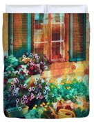 Ready To Water The Garden Oil Painting Duvet Cover