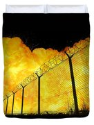 Realistic Fiery Explosion Behind Restricted Area Barbed Wire Fence Duvet Cover