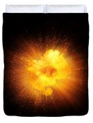Realistic Fiery Explosion, Orange Color With Sparks Isolated On Black Background Duvet Cover