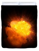 Realistic Fire Explosion, Orange Color With Smoke And Sparks Duvet Cover