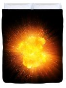 Realistic Fire Explosion, Orange Color With Sparks Isolated On Black Background Duvet Cover