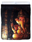 Portrait Of Lord Ganapathy Ganesha Duvet Cover