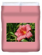 Really Pretty Blooming Pink Daylily In A Garden Duvet Cover