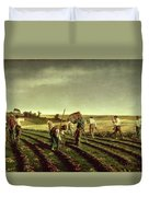 Reaping Sainfoin In Chambaudouin Duvet Cover by Pierre Edmond Alexandre Hedouin