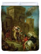 Rebecca Kidnapped By The Templar Duvet Cover by Ferdinand Victor Eugene Delacroix