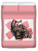 Reclined Striped And Symbolic  Duvet Cover