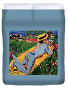 Reclining Blue Nude With Straw Hat Duvet Cover