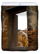 Reclining Buddha View Through A Window Duvet Cover