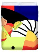 Reclining Nude In Blue And Red Duvet Cover