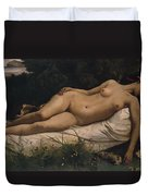 Recumbent Nymph Duvet Cover by Anselm Feuerbach