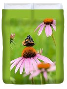 Red Admiral And Cone Flowers Duvet Cover