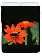 Red Admiral Nectaring On Tithonia Duvet Cover
